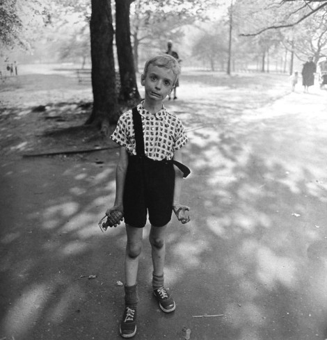 Child with toy hand grenade in Central Park 1962